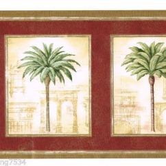 Palm Tree Kitchen Decor Block On Wheels Tuscan Wallpaper Border | Ebay