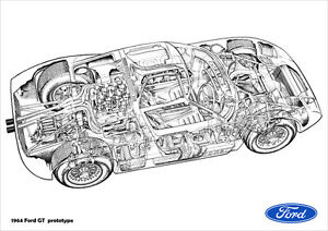 FORD GT40 GT RACER PROTOTYPE CUTAWAY IMAGE RETRO A3 POSTER