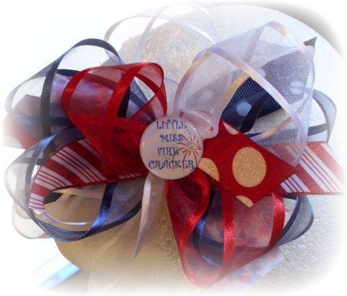 red white blue hair bow