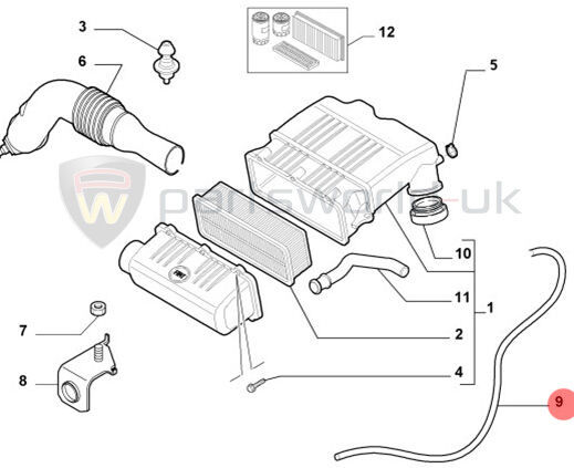 Fiat Punto & Grande Panda 2009- Air Filter Breather Hose