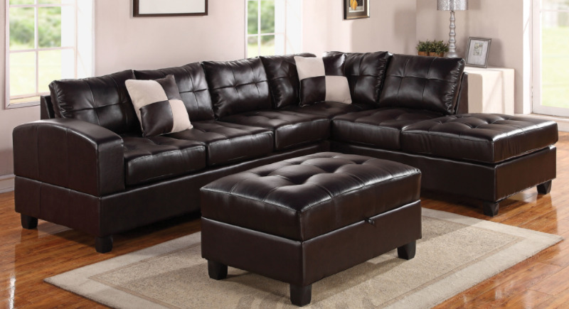 sectional sofa couch chocolate brown living room ideas in bonded leather with ottoman other city of toronto kijiji