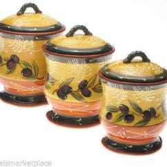 Country Kitchen Canister Sets Ceramic French Cabinets Canisters | Ebay