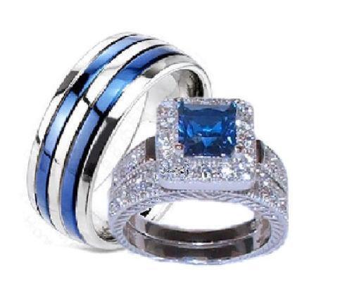 Blue Wedding Ring Set