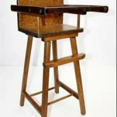 Antique High Chairs Dark Brown Dining Chair Covers Wooden Ebay Vintage