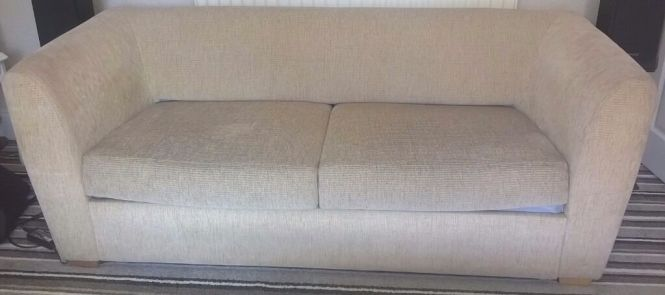 Beige Cream Suite Bed Settee And Chair Metal Action Sofa Good Clean Mattress