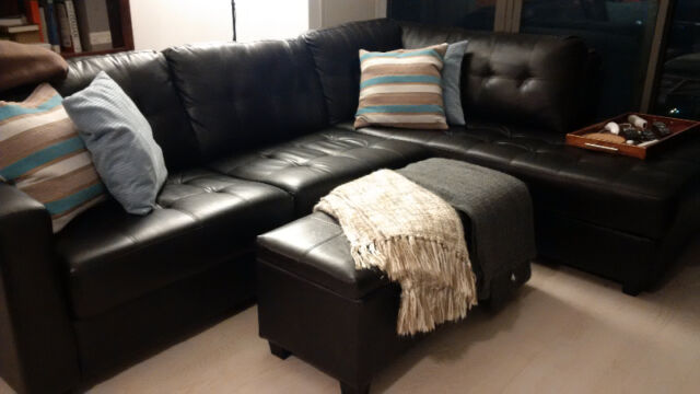 sectional sofa couch sofas furniture uk zambia bonded black leather for sale image
