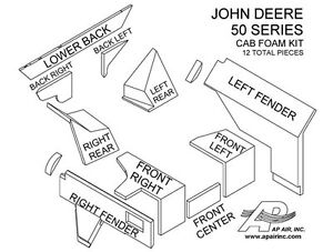 JOHN-DEERE-TRACTOR-CAB-FOAM-KIT-4050-4250-4450-4650-4850-NEW-12-PIECES-BROWN