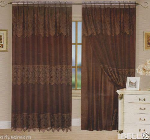 Brown Lace Curtains  eBay