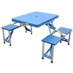 Folding Table And Chairs Set Camping Velvet Office Chair Uk Plastic Picnic   Ebay