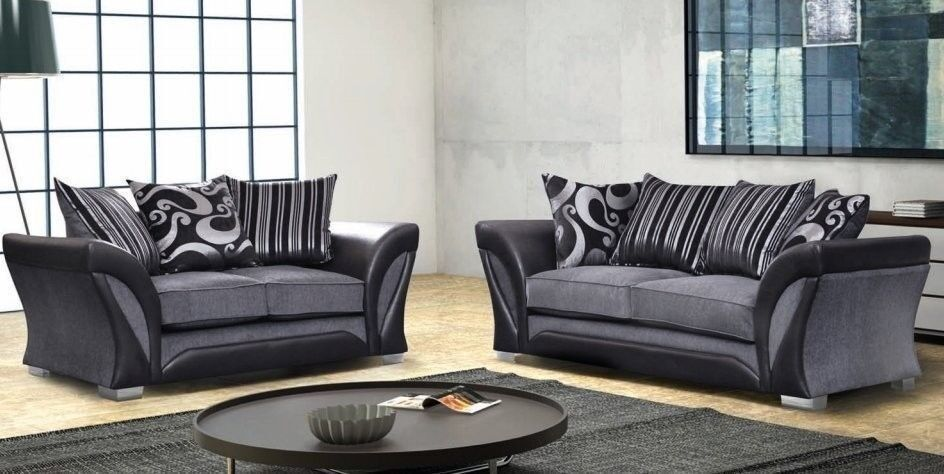 leather and chenille sofa bed online india express same day delivery brand new pu mix shannon corner or 3 2 set