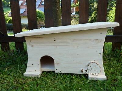 Igelhaus,  Igelhütte mit Rattenklappe besonderes Design aus Holz Holzarbeit NEU