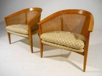 2-Vintage-Mid-20th-Century-Modern-Barrel-Cane-Back-Lounge ...