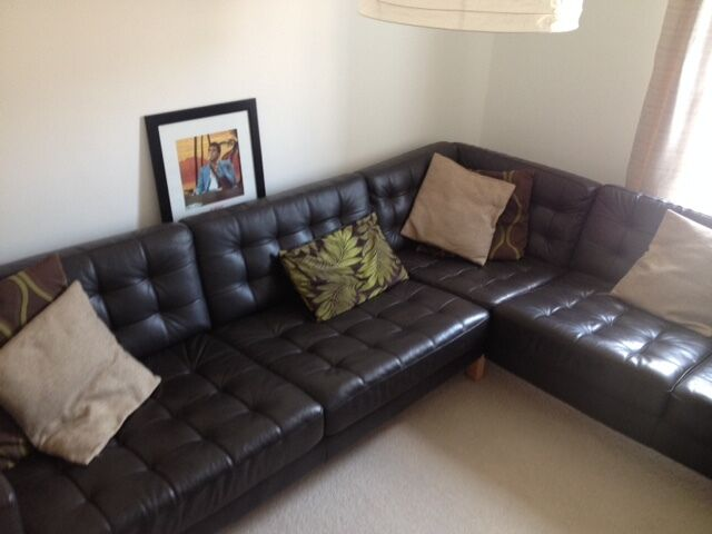 brown leather sofa on legs value city furniture sectionals corner landskrona ikea - (nearly new condition)   in ...