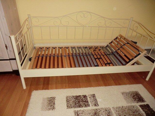 Metallbett Tagesbett Einzelbett 90x200cm Metall Bett Bettgestell Bett weiß Q6I2