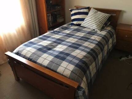 Solid Timber King Single Bed With Mattress Excellent Condition