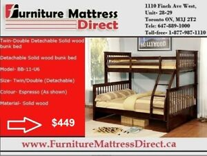 Winnipeg Twin Double Detachable Solid Wood Bunk Bed