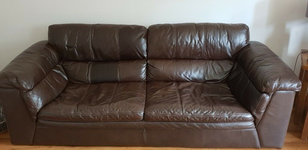 leather sofa brown dfs classic white 4 seater and 3 in elgin moray gumtree