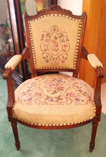 rocking chair cane double papasan frame antique needlepoint | ebay