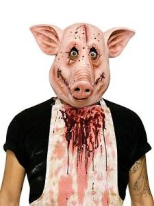 Psycho Pig Mask Latex Crazy Bloody Swine Full Animal Head Snout Ears Adult Vinyl