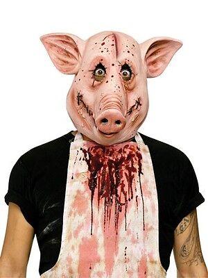 Psycho Pig Mask Latex Crazy Bloody Swine Full Animal Head Snout Ears Adult Vinyl