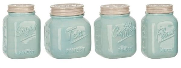 mason jar canister set kitchen Mason Jar Canister Set 4 Piece Kitchen Counter Storage