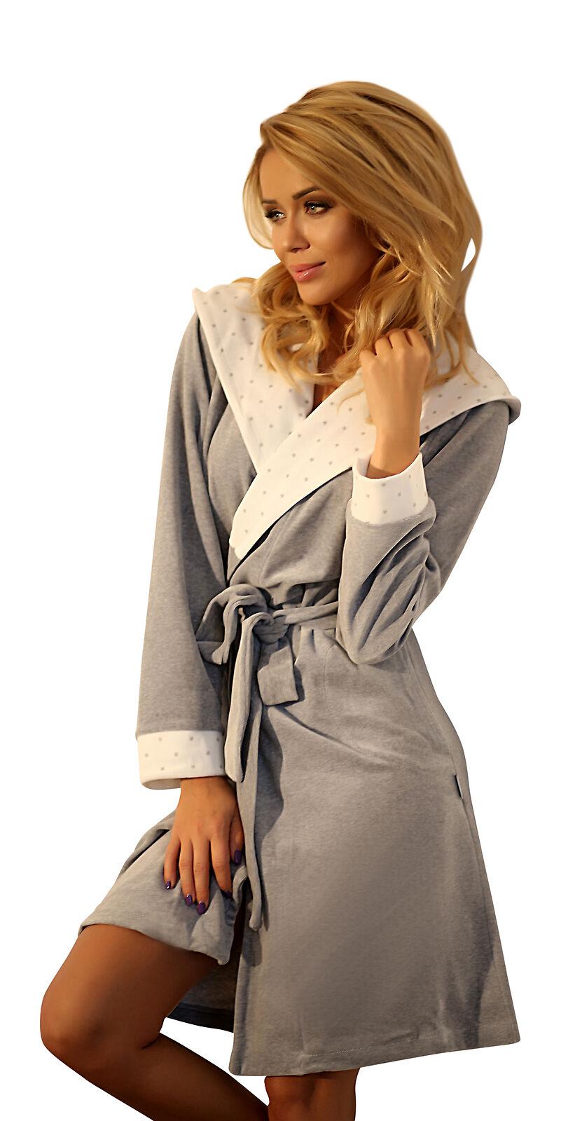 Warm Luxury Hooded Dressing Gown Housecoat Cotton Soft Bathrobe Robe Women