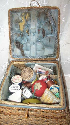 Antique Sewing Basket  eBay