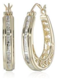 Yellow Gold Diamond Hoop Earrings | eBay