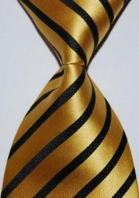 Black Gold Striped Silk Tie | eBay
