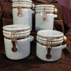 Ceramic Kitchen Canisters Tables Sets Under 200 Canister Set Spoons | Ebay