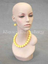 Female-Fiberglass-Mannequin-Head-Wig-Hat-Earrings-Necklace ...