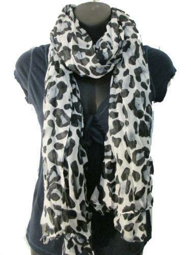 White Leopard Print Scarf