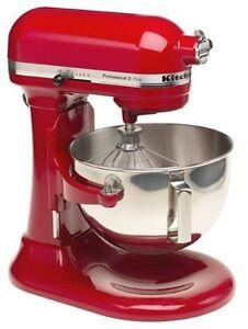 New KitchenAid Pro Stand Mixer 450-W 5-QT Kv25g0x Metallic Chrome & Red 2 Colors