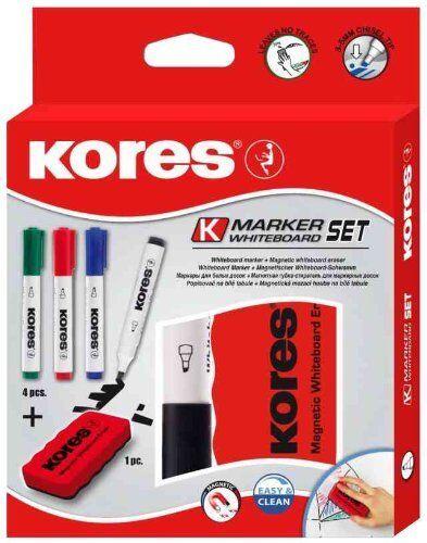 Kores Whiteboard Marker Set, 4 Marker + Tafellöscher magnethaftend Keilspitze