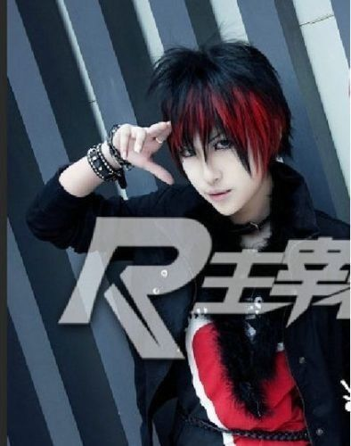 Red And Black Hair Boy : black, Gothic, Short, Black, Custome, Cosplay, Anime
