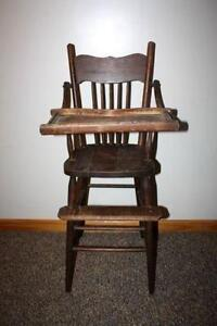 wooden high chairs for babies modern wicker chair vintage ebay wood baby