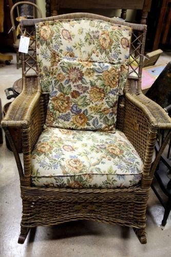 where to buy wicker chairs roll arm chair slipcovers antique rocking   ebay