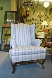 ethan allen wingback chairs upholstered chair and ottoman | ebay