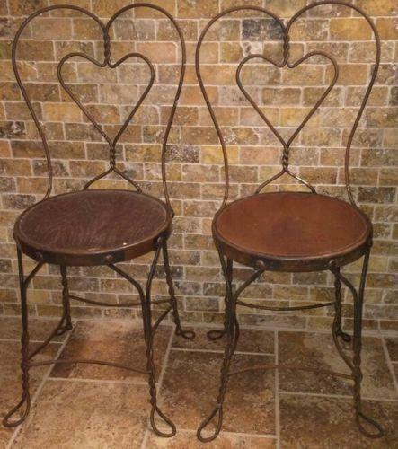iron table and chairs set desk chair upright ice cream parlor | ebay