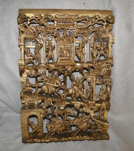 Chinese Carved Wood Panel  eBay