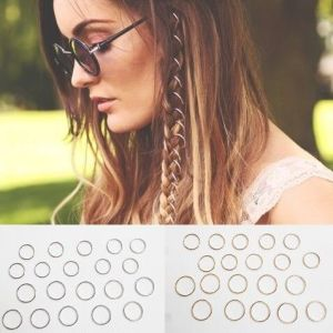 20 Hair Hoops, Braid Rings, Dreads, Clip-In Festival Jewelry, Boho Hip-Hop, Punk