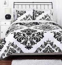 King White Black Damask Bedding   eBay