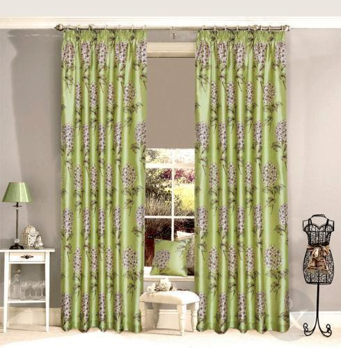 modern curtains for living room uk red and brown decor green cream | ebay