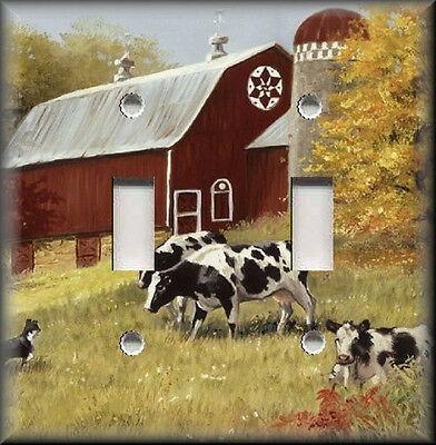 Light Switch Plate Cover Country Amish Farm Cows Red Barn