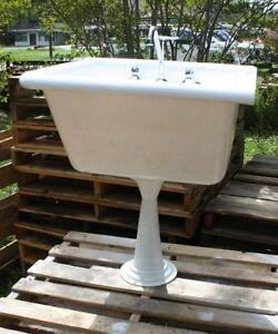 old kitchen sink with drainboard tall storage cabinet cast iron | ebay