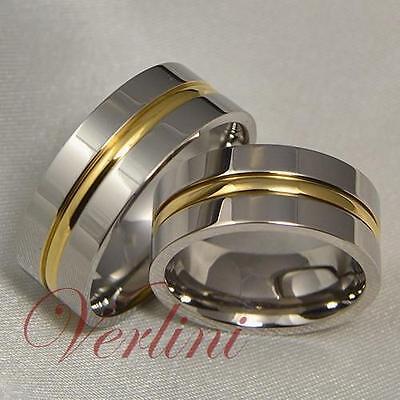 8MM Mens Amp Womens Titanium Rings 14k Gold Matching Set
