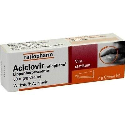 ACICLOVIR ratiopharm Lippenherpescreme 2 g PZN: 2286360 (138,00€/100g)