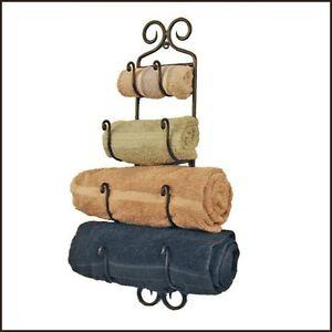 Adirondack Wrought Iron Towel Rack Black Wall Mount Holder