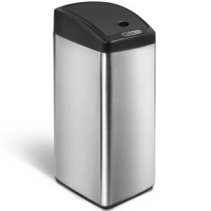 kitchen trash bin island ideas merax sensor office can stainless steel garbage 13 gallon