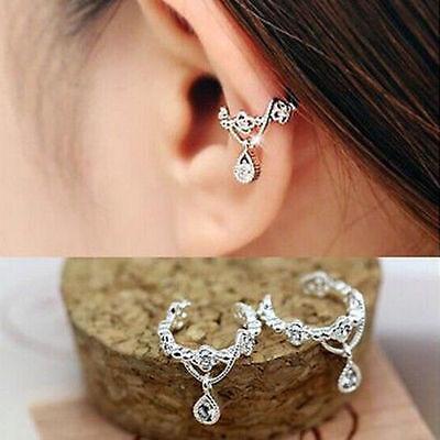 Ohrklemme Ear Cuff CZ Kristall Fake Ohrringe Rhodium
